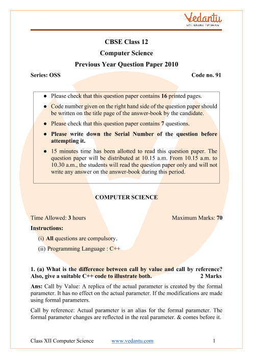 CBSE Class 12 Computer Science Question Paper 2010 with Solutions part-1