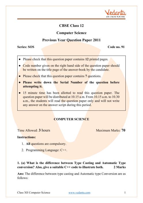 CBSE Class 12 Computer Science Question Paper 2011 part-1