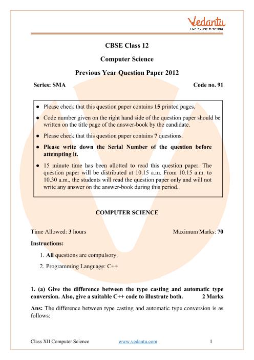 CBSE Class 12 Computer Science Question Paper 2012 part-1