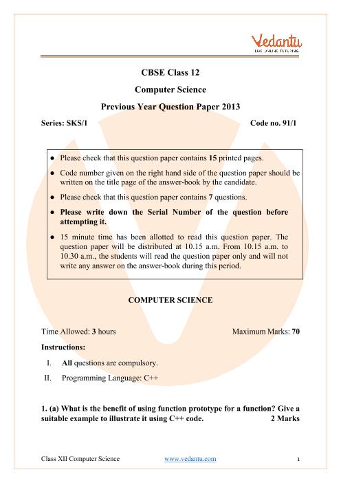 CBSE Class 12 Computer Science Question Paper 2013 part-1