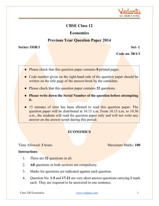 CBSE Class 12 Economics Question Paper & Solutions 2014 Delhi Scheme part-1