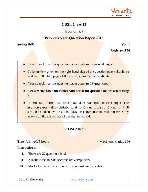 CBSE Class 12 Economics Question Paper 2015 with Solutions part-1