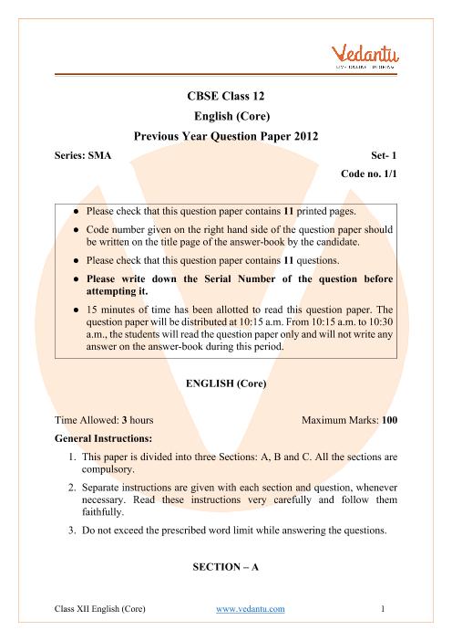 CBSE Class 12 English Core Question Paper 2012 part-1