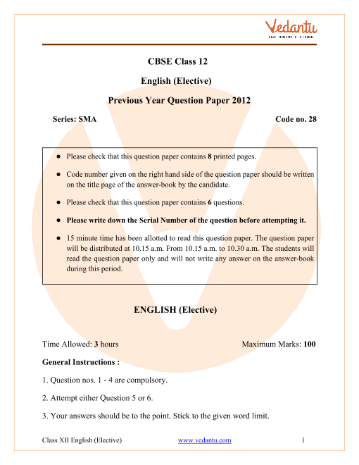 CBSE Class 12 English Elective Question Paper 2012 with Solutions part-1