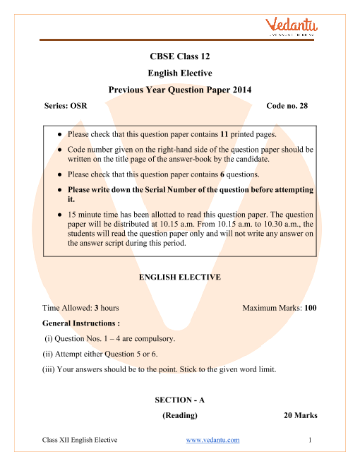 CBSE Class 12 English Elective Question Paper 2014 with Solutions part-1