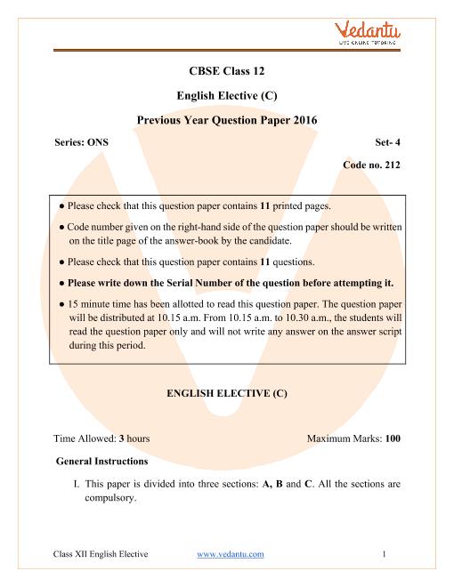 CBSE Class 12 English Elective Question Paper 2016 All India Scheme part-1