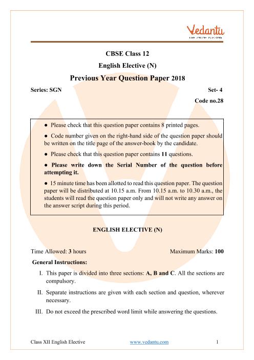 CBSE Class 12 English Elective Question Paper 2018 Delhi Scheme part-1