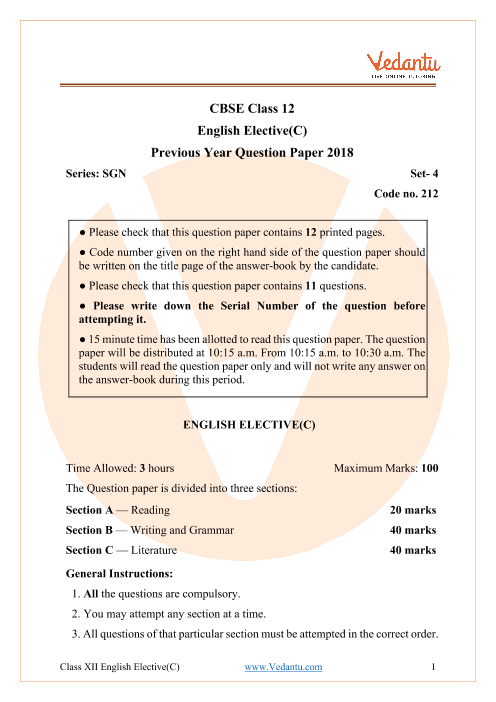 CBSE Class 12 English Elective Question Paper 2018 with Solutions part-1