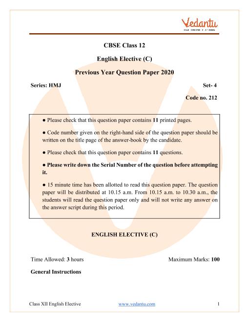 CBSE Class 12 English Elective Question Paper 2020 part-1