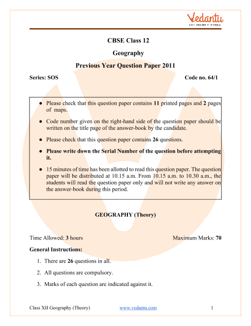 CBSE Class 12 Geography Question Paper 2011 with Solutions part-1