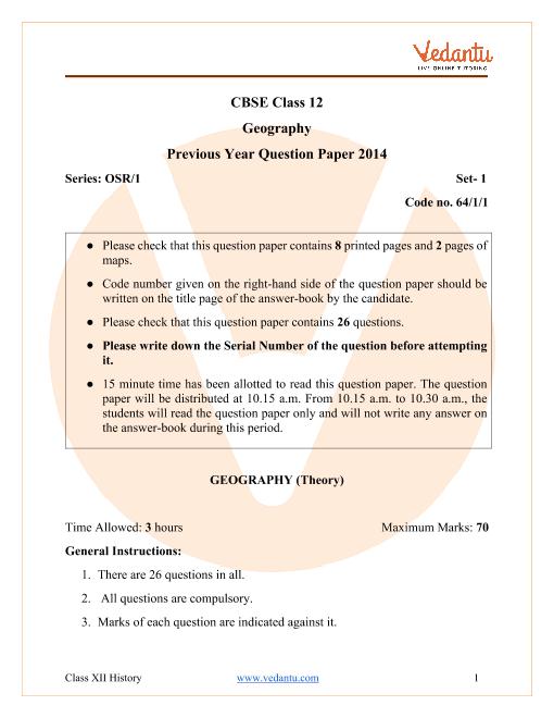 CBSE Class 12 Geography Question Paper & Solutions 2014 Delhi Scheme part-1