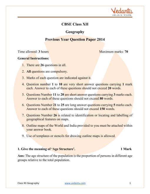 CBSE Class 12 Geography Question Paper 2014 All India Scheme part-1