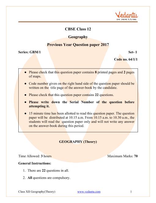 CBSE Class 12 Geography Question Paper & Solutions 2017 Delhi Scheme part-1