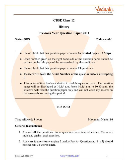 CBSE Class 12 History Question Paper 2011 with Solutions part-1