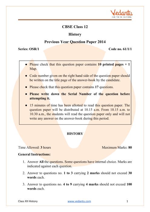 CBSE Class 12 History Question Paper 2014 Delhi Scheme part-1