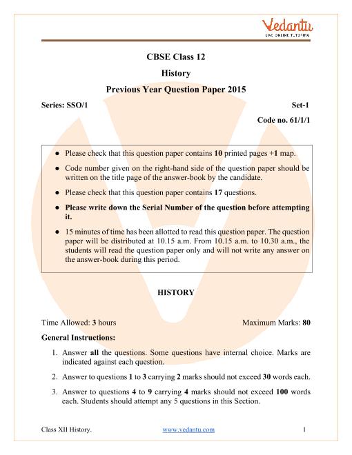 CBSE Class 12 History Question Paper & Solutions 2015 Delhi Scheme part-1