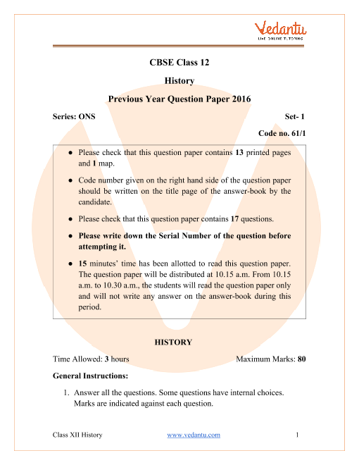 CBSE Class 12 History Question Paper 2016 with Solutions part-1