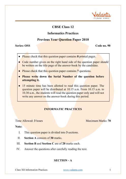 CBSE Class 12 Informatics Practices Question Paper 2010 part-1