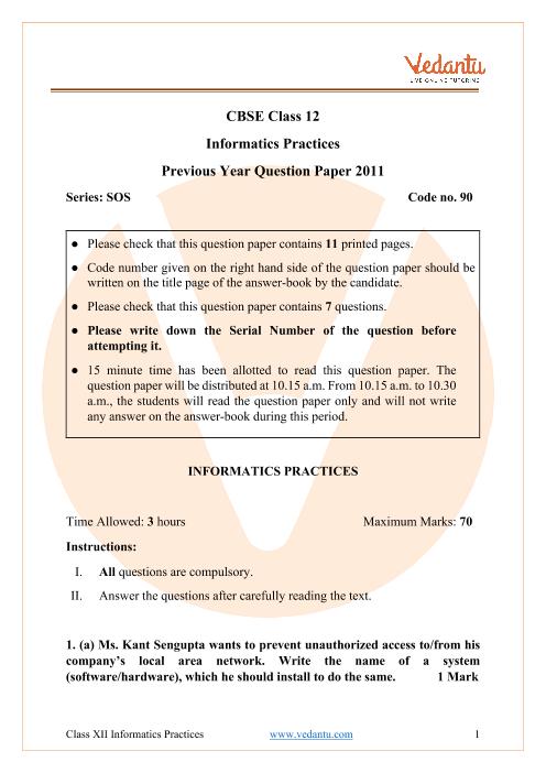 CBSE Class 12 Informatics Practices Question Paper 2011 part-1