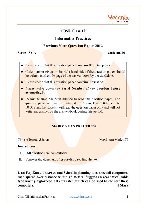 CBSE Class 12 Informatics Practices Question Paper 2012 part-1