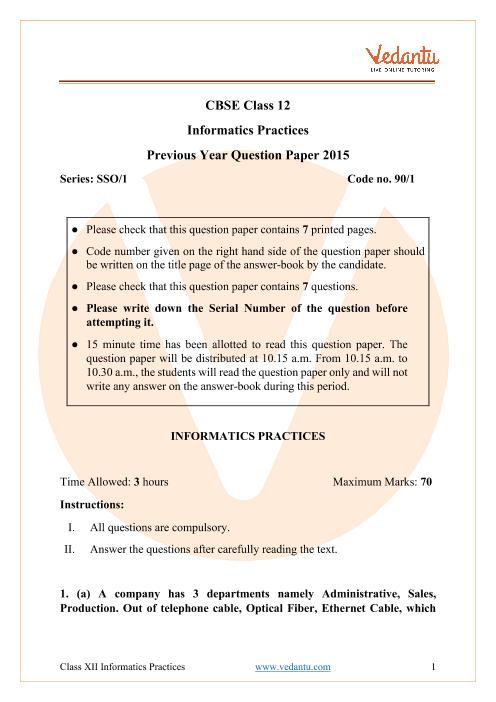 CBSE Class 12 Informatics Practices Question Paper 2015 Delhi Scheme part-1