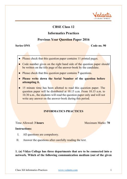 CBSE Class 12 Informatics Practices Question Paper 2016 All India Scheme part-1