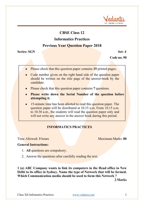 CBSE Class 12 Informatics Practices Question Paper 2018 part-1