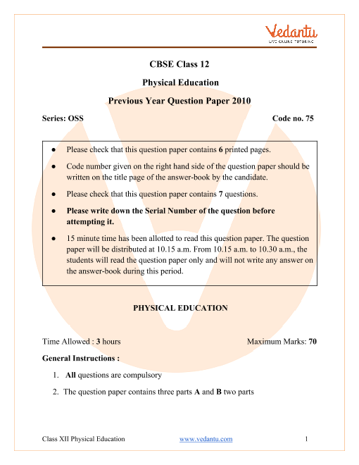 CBSE Class 12 Physical Education Question Paper 2010 part-1