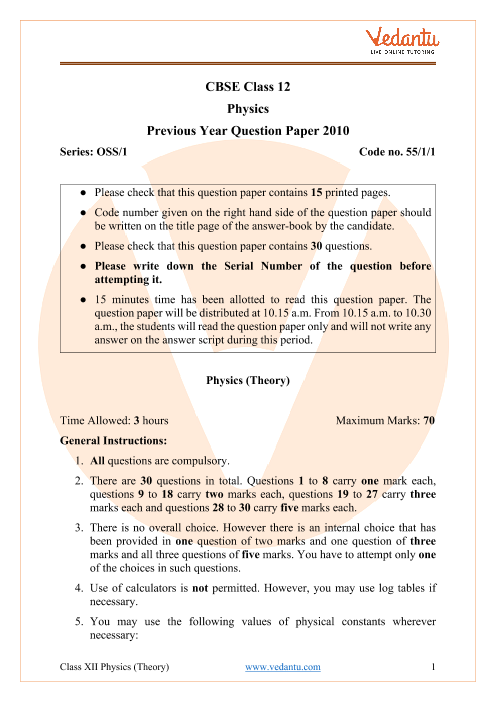 CBSE Class 12 Physics Question Paper 2010 with Solutions part-1