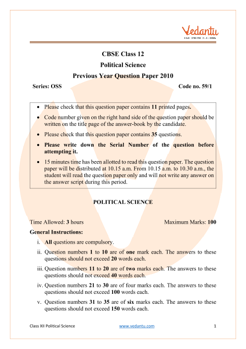 CBSE Class 12 Political Science Question Paper 2010 with Solutions part-1