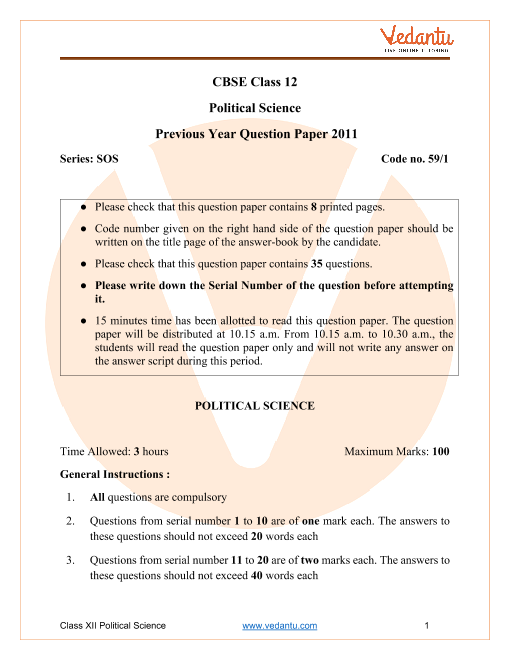 CBSE Class 12 Political Science Question Paper 2011 with Solutions part-1