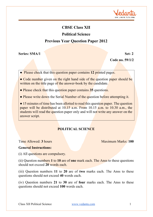 CBSE Class 12 Political Science Question Paper 2012 with Solutions part-1