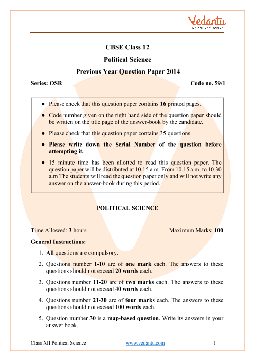 CBSE Class 12 Political Science Question Paper 2014 with Solutions part-1