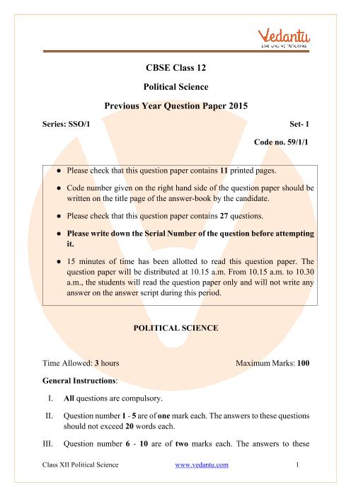 CBSE Class 12 Political Science Question Paper 2015 Delhi Scheme part-1
