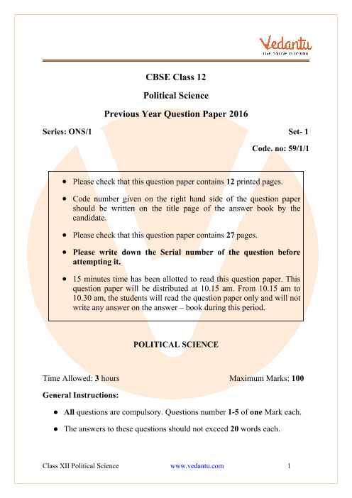 CBSE Class 12 Political Science Question Paper 2016 Delhi Scheme part-1