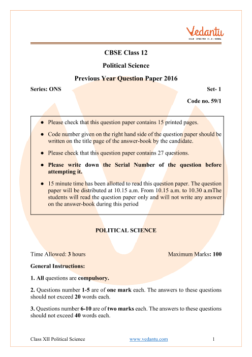 CBSE Class 12 Political Science Question Paper 2016 with Solutions part-1