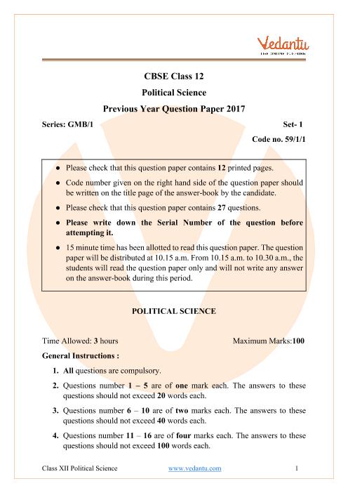 CBSE Class 12 Political Science Question Paper & Solutions 2017 Delhi Scheme part-1