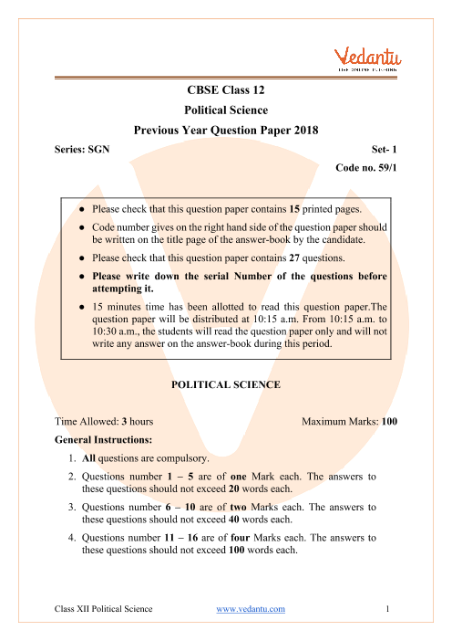 CBSE Class 12 Political Science Question Paper 2018 with Solutions part-1