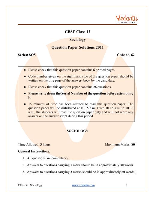 CBSE Class 12 Sociology Question Paper 2011 part-1