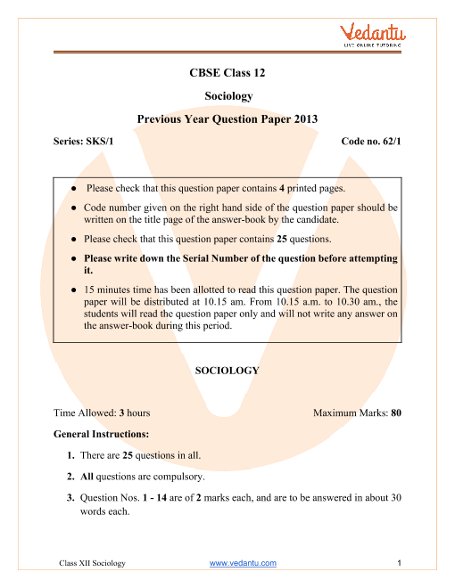 CBSE Class 12 Sociology Question Paper 2013 with Solutions part-1