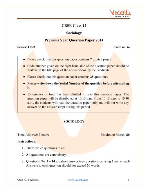 CBSE Class 12 Sociology Question Paper 2014 All India Scheme part-1