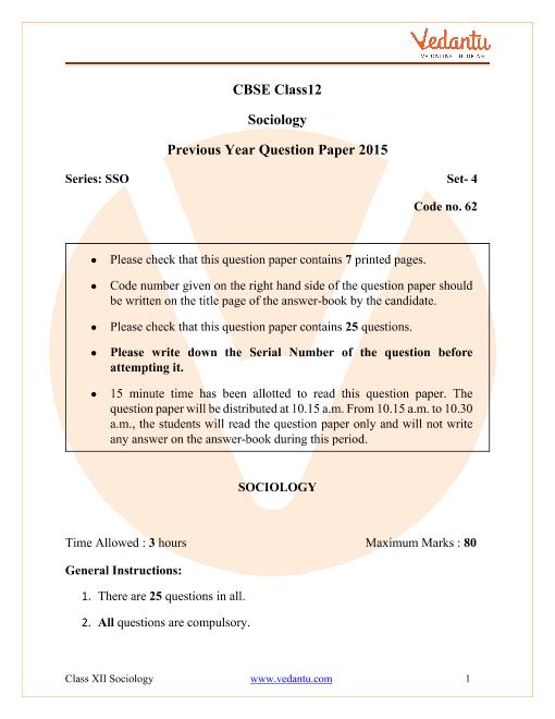 CBSE Class 12 Sociology Question Paper 2015 part-1