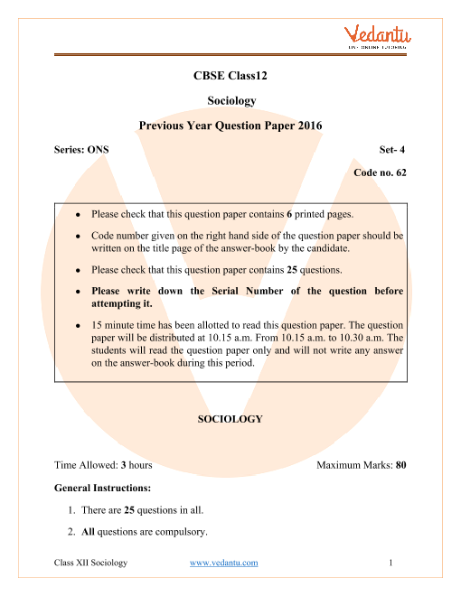 CBSE Class 12 Sociology Question Paper 2016 with Solutions part-1