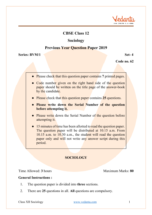 CBSE Class 12 Sociology Question Paper 2019 with Solutions part-1