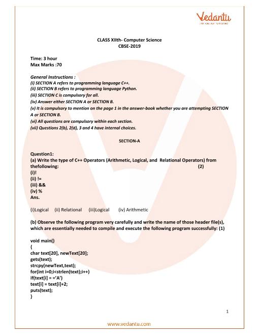 CBSE Class 12 Computer Science Question Paper 2019 part-1