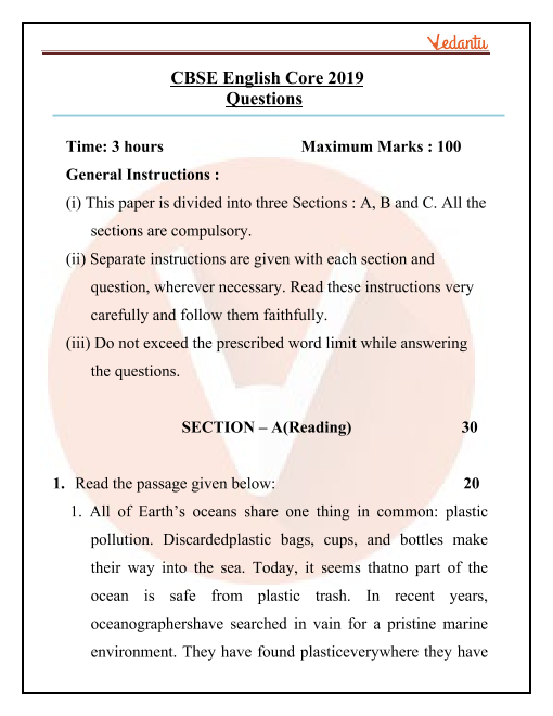 CBSE Class 12 English Core Question Paper for 2019 part-1
