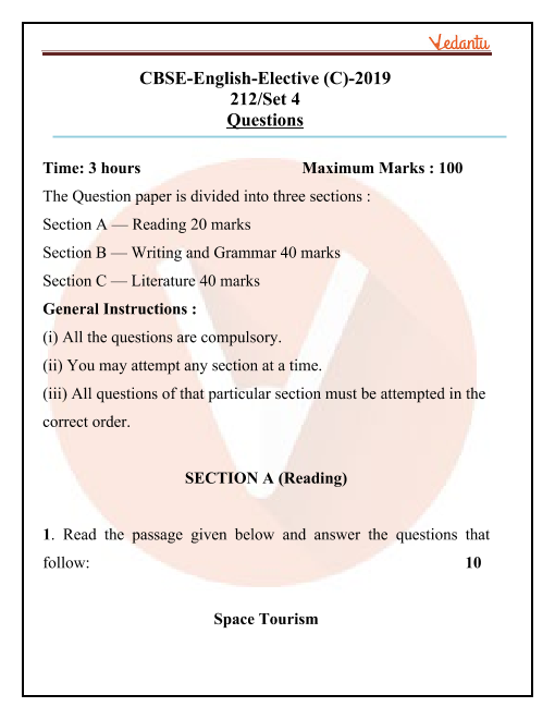 CBSE Class 12 English Elective Question Paper for 2019 part-1