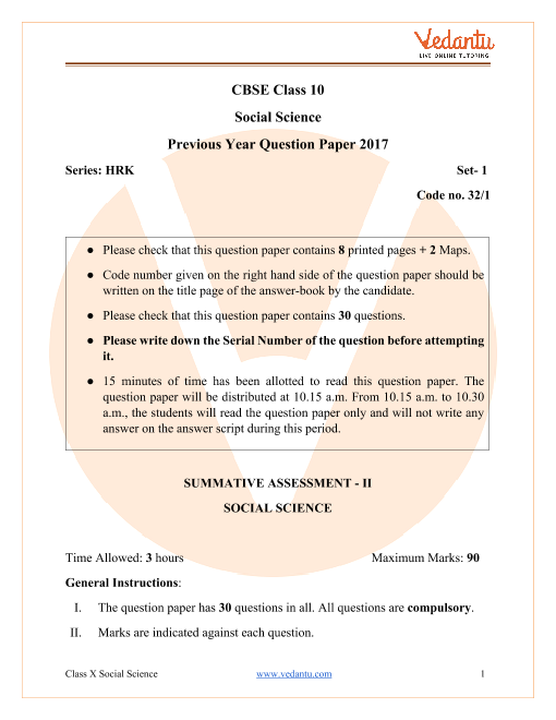 CBSE Class 10 Social Science Question Paper 2017 part-1