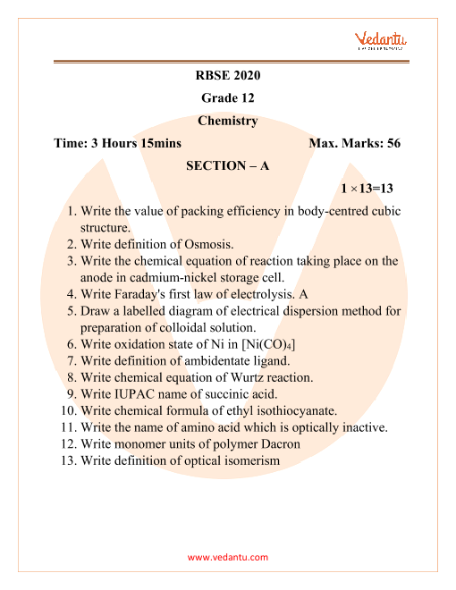 RBSE Class 12 Chemistry Question Paper 2020