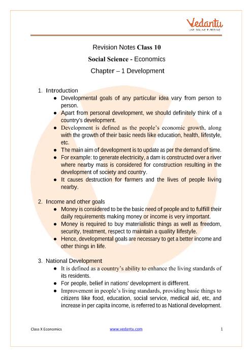 CBSE Class 10 Economics Chapter 1 Notes - Development part-1